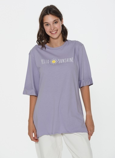 Loves You Hello Sunshine Baskılı Loose Fit T-Shirt Lila